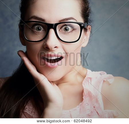 Screaming Office Female Worker With Surprising Stupor Big Eyes In Glasses. Closeup