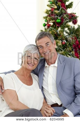 Portrait Of Mature Couple Celebrating Christmas