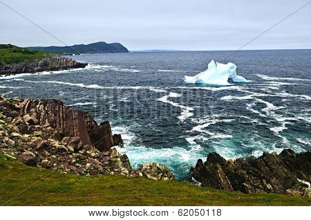 Melting iceberg off the coast of Newfoundland, Canada