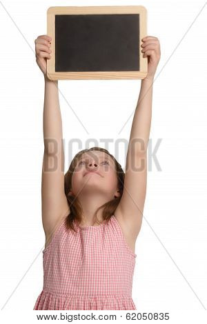 Young Girl Holding Up A Blank School Slate