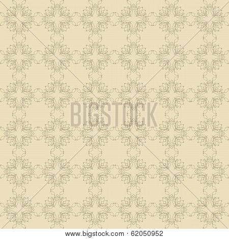 Beige Floral Wallpaper