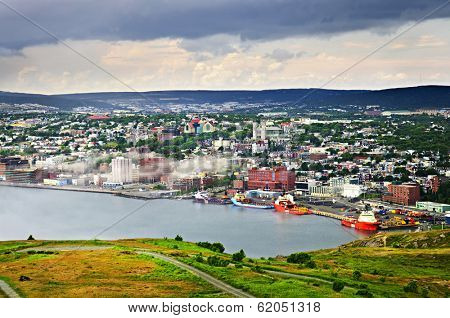 Cityscape of Saint John's from Signal Hill in Newfoundland Canada