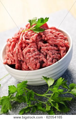 Close up on bowl of lean red raw ground meat
