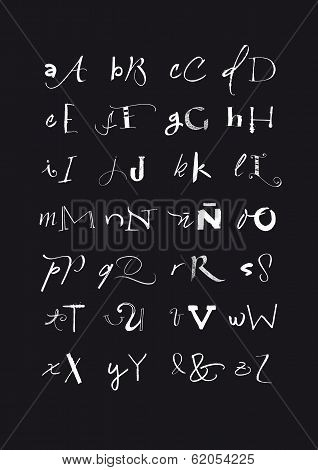 Calligraphic Hand Written Uppercase And Lowercase Black And White Alphabet