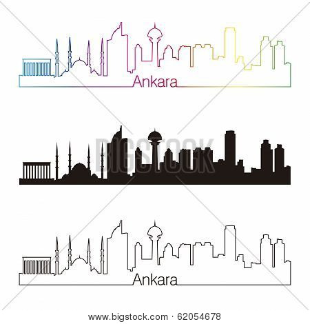 Ankara Skyline Linear Style With Rainbow