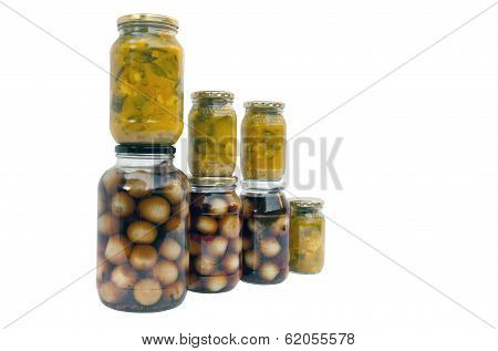 Assorted Jars Of Homemade Piccalilli And Pickled Onions