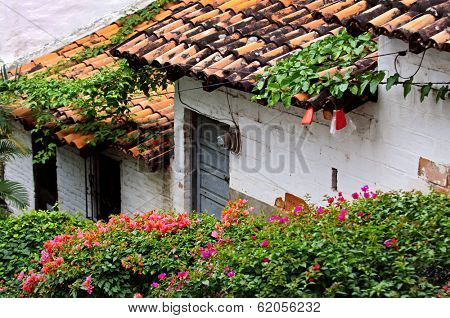 Old building with red tile roofs in Puerto Vallarta, Jalisco, Mexico