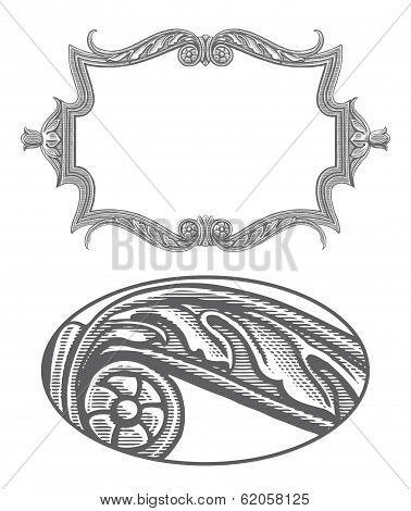 Ornate frame in vintage engraving style