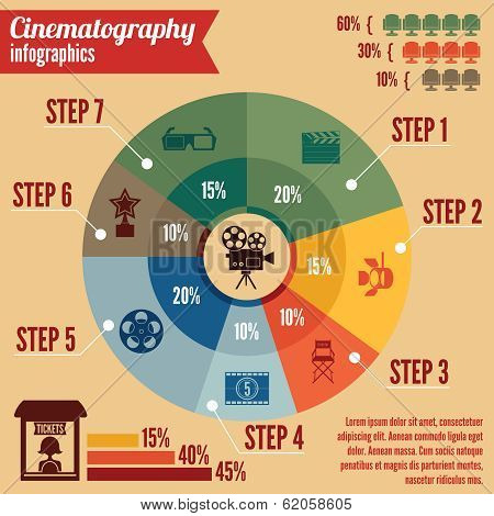Cinema entertainment business infographics
