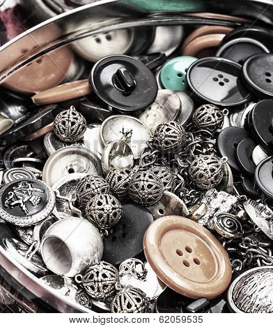 heap of the buttons is in  ferrous box