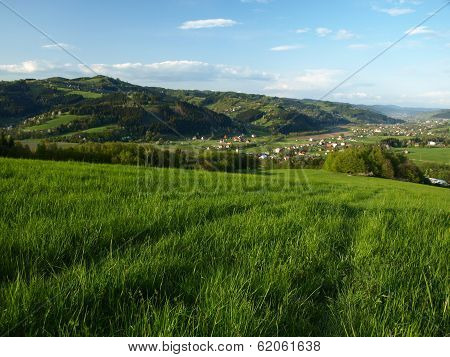 Green Field Above Small Village