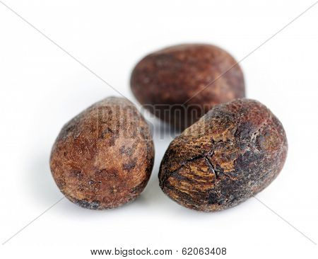 Raw unprocessed shea nuts isolated on white background