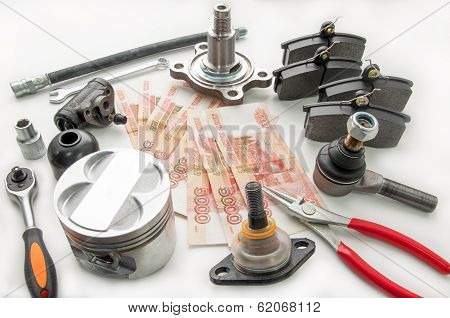 Automobile spare parts and money