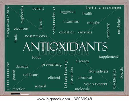 Antioxidants Word Cloud Concept On A Blackboard
