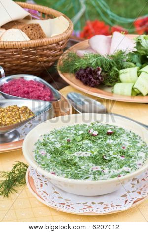 Summer Kvass Soup (okroshka) On Served Table With Ingredients
