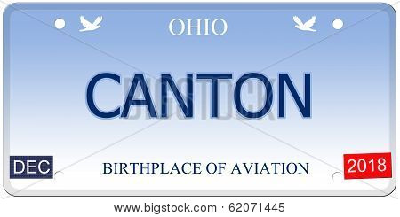 Canton Ohio Imitation License Plate