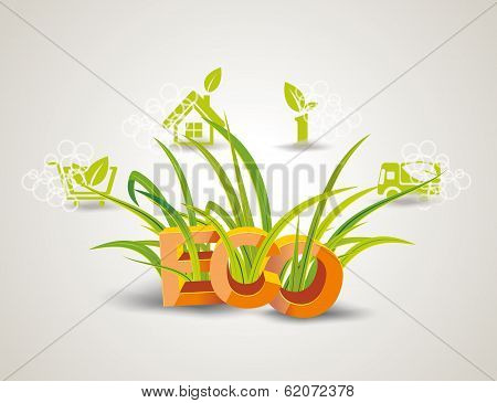 Ecology Icon Set. Letters Eco With Green Grass.