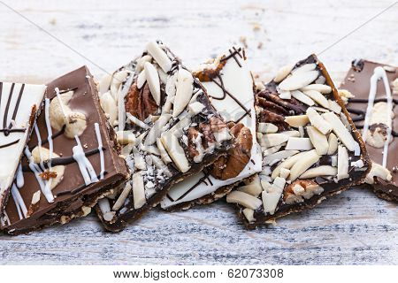 Assorted chocolate caramel bark pieces for sweet dessert