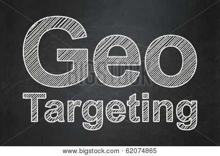 Finance concept: Geo Targeting on chalkboard background