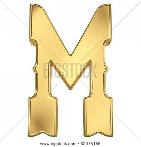 Letter M from gold solid western alphabet.