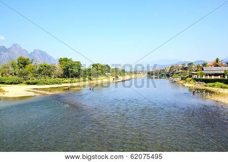 Landscape By The Song River At Vang Vieng, Laos.