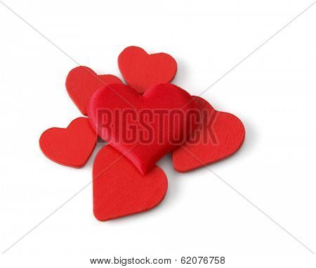 red hearts, isolated on white background