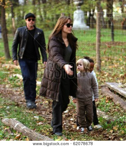 BUDAPEST-NOV5: Brad Pitt and Angelina Jolie and their children Zahara, Pax, and Shiloh enjoy an early evening visit to a park in Budapest, Hungary, on Friday, November 5, 2010.