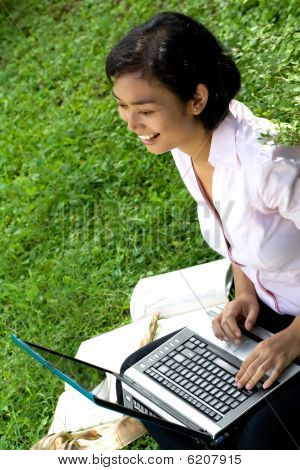 Woman working in outdoor office