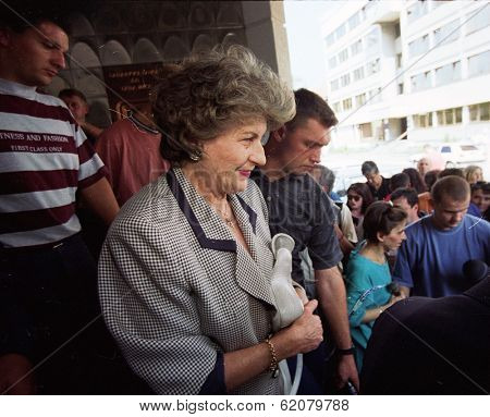 PALE, BOSNIA - JUNE 10: Bosnian Serb president Biljana Plavsic attends a session of the Bosnian Serb parliament in Pale, Bosnia, on Monday, June 10, 1996.