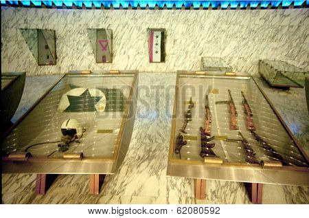 BAGHDAD, IRAQ - MARCH 10: Military memorabilia on display below the Iraqi Tomb of the Unknown Soldier in Baghdad. At left is part of an Israeli F-4 Phantom jet shot down during the 1973 war  on March 10, 1999 in Baghdad, Iraq.