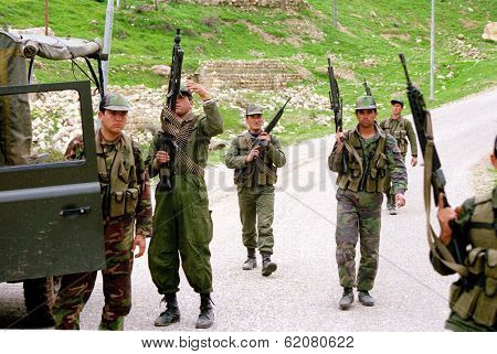 NORTHERN IRAQ - MAY 3: Turkish troops prepare to mount a patrol in northern Iraq. Turkey has again sent in its army to crush Kurdish guerrilla forces on May 3, 1998 in Northern Iraq.