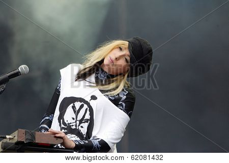 BUDAPEST, HUNGARY - AUG 13: The English rock duo The Ting Tings in concert at the annual Sziget music festival on Thursday, August 13, 2009. in Budapest, Hungary. The Ting Tings  Katie White.