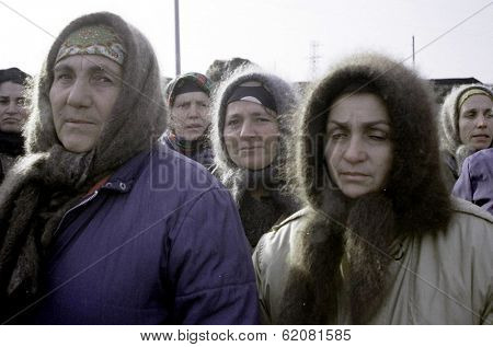 CHECHNYA - DECEMBER 28: Chechen women protest the Russian invasion of Chechnya on December 28, 1994 in Chechnya