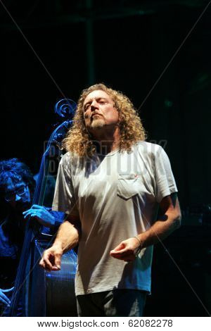 BUDAPEST - AUG 9: Robert Plant, former frontman for Led Zeppelin, performs in concert at the annual Sziget Festival in Budapest, Hungary, on Wednesday, August 9, 2006.
