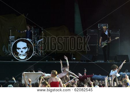 BUDAPEST, HUNGARY - AUGUST 10: Die Aerzte (Die Arzte) perform at the annual Sziget music festival in Budapest, Hungary, on Tuesday, August 10, 2004. Band members are Farin Urlaub, Bela B. and Rodrigo Gonzalez.