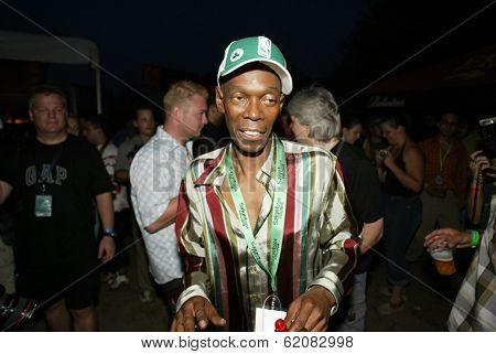 BUDAPEST, HUNGARY - AUGUST 10: Maxi Jazz of the band Faithless at the annual Sziget music festival on August 10, 2004 in Budapest, Hungary