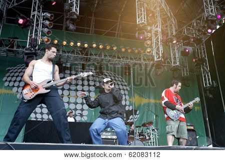 BUDAPEST, HUNGARY - AUGUST 5: The Bloodhound Gang performs at the annual Sziget music festival on August 5, 2004 in Budapest.