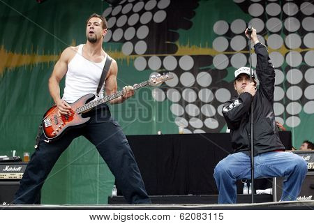 BUDAPEST, HUNGARY - AUGUST 5: The Bloodhound Gang performs at the annual Sziget music festival on August 5, 2004 in Budapest. From left  bassist Evil Jared and singer Jimmy Pop Ali.