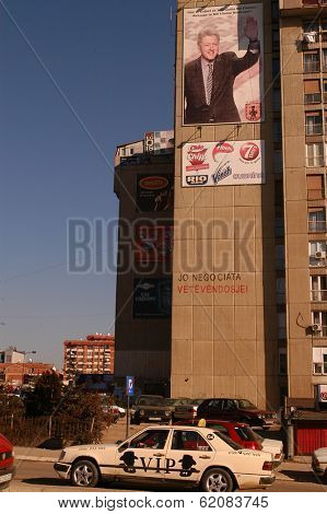PRISTINA, KOSOVO - JAN 26: Traffic moves along Bill Clinton Boulevard in Pristina, Kosovo, on Saturday, January, 26, 2008.