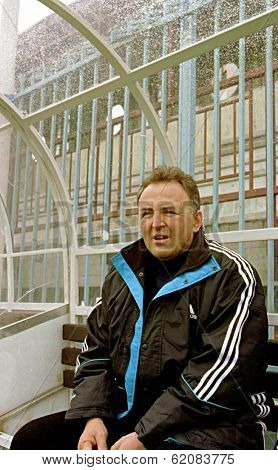 BELGRADE, YUGOSLAVIA, 29 MARCH 1999 - One of the world's most infamous war criminals, Zeljko Raznatovic, left,  known as Arkan, visits his soccer team in the Yugoslavian capital Belgrade.