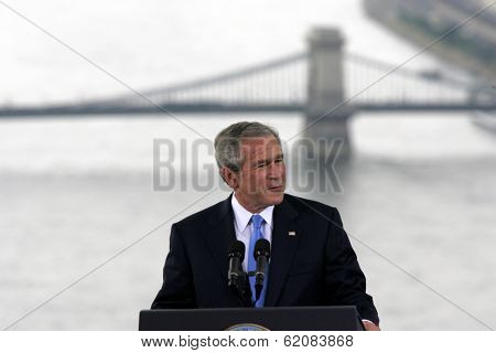 BUDAPEST, HUNGARY - JUNE 22: United States President George W. Bush speaks at an outdoor ceremony marking the 50th anniversary of the 1956 Hungarian anti Soviet uprising  in Budapest, Hungary, on Thursday, June 22, 2006.