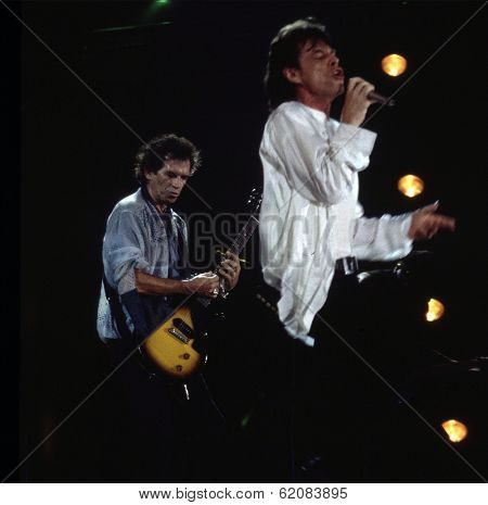 WASHINGTON, D.C. - AUG 4: Mick Jagger, at right,  and Keith Richards play during the Rolling Stones' Voodoo Lounge Tour in Washington, D.C., on Thursday, August 4, 1994.