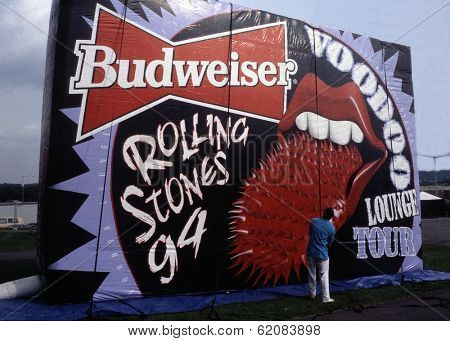 WASHINGTON, D.C. - AUG 4: A giant inflatable announces  the Rolling Stones in concert at RFK stadium during the Voodoo Lounge Tour in Washington, D.C., on Thursday, August 4, 1994.