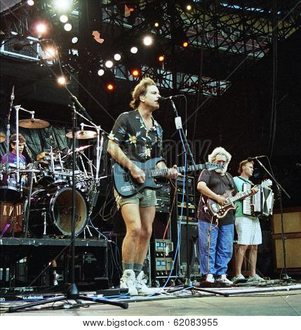 WASHINGTON, D.C. - JUNE 20: The Grateful Dead in concert in Washington, D.C., on Saturday, June 20, 1992. From left, Phil Lesh, Bob Wier, Jerry Garcia, and Bruce Hornsby.