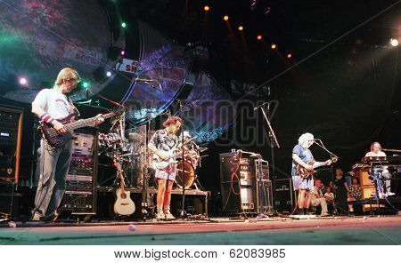 EAST RUTHERFORD, NEW JERSEY - AUGUST 3: The Grateful Dead in concert in East Rutherford, New Jersey, on Sunday, August 3, 1994.  From left is Phil Lesh, Bob Wier, Jerry Garcia,  and Vince Welnick.