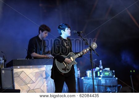 BUDAPEST, HUNGARY, AUGUST 10: The British indie pop band XX play live in concert at the annual Sziget Music Festival on August 10, 2012 in Budapest, Germany