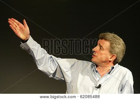 BELGRADE - MAY 23: Michael O'Leary, chairman and chief executive officer of Ryanair, speaks in Belgrade, Serbia, on Sunday, May 23, 2005.