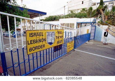 ISRAEL-LEBANON BORDER - APRIL 9:  The Israeli-Lebanon border along the coastal road, south of Enn Naqoura, Lebanon on April 9, 2001.