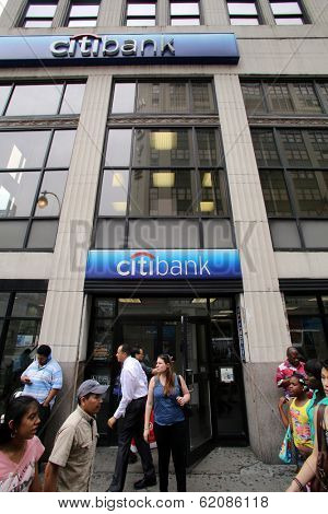 NEW YORK CITY - JULY 11: Pedestrians walk past a Citibank bank branch in midtown Manhattan on Thursday, July 11, 2013.