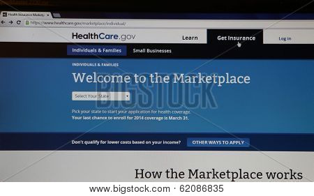 NEW YORK CITY - FEBRUARY 2, 2014:  The healthcare.gov website in New York City, New York, on February 2, 2014. Healthcare.gov is the U.S. government's online marketplace to buy health insurance.